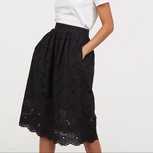 H&M Skirts - Black eyelet summer skirt